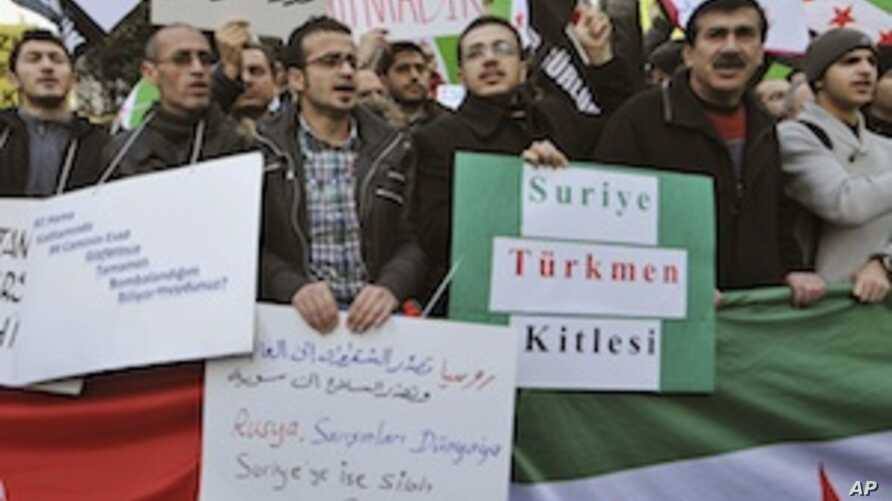 Syrians and Turks in Istanbul Protest Latest Syrian Show of Force