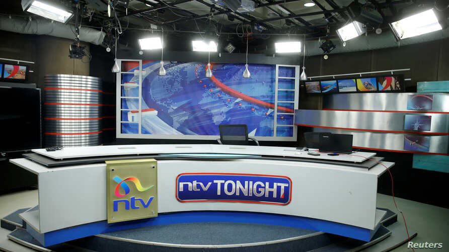 An empty studio of a Kenyan TV channel is seen following its coverage of opposition leader Raila Odinga's mock presidential inauguration this week, at the Nation Group media building in Nairobi, Kenya, Feb. 1, 2018.