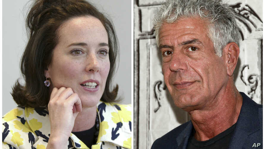 This combination of 2004 and 2016 file photos shows fashion designer Kate Spade and chef Anthony Bourdain in New York.