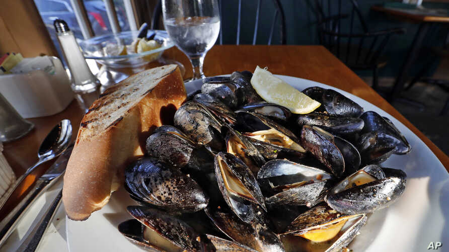FILE - A plate of fire-roasted mussels.