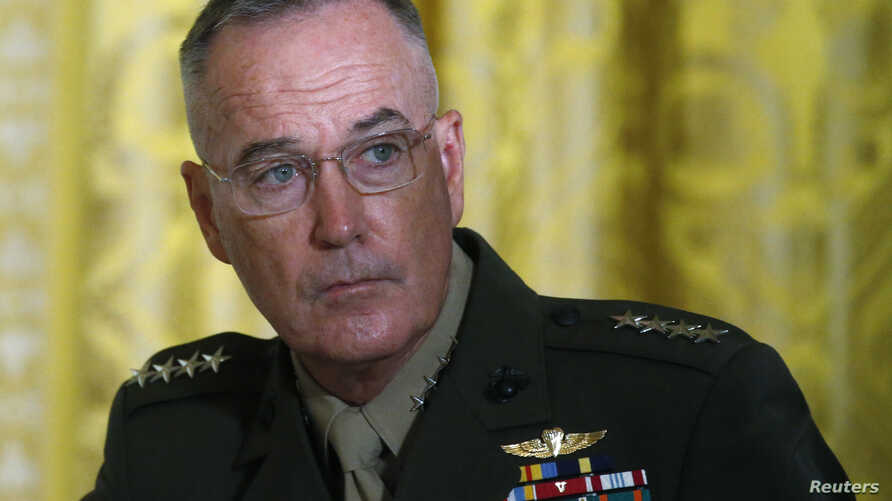 U.S. Joint Chiefs Chairman General Joseph Dunford  attends a meeting of the National Space Council in the East Room of the White House in Washington, June 18, 2018.