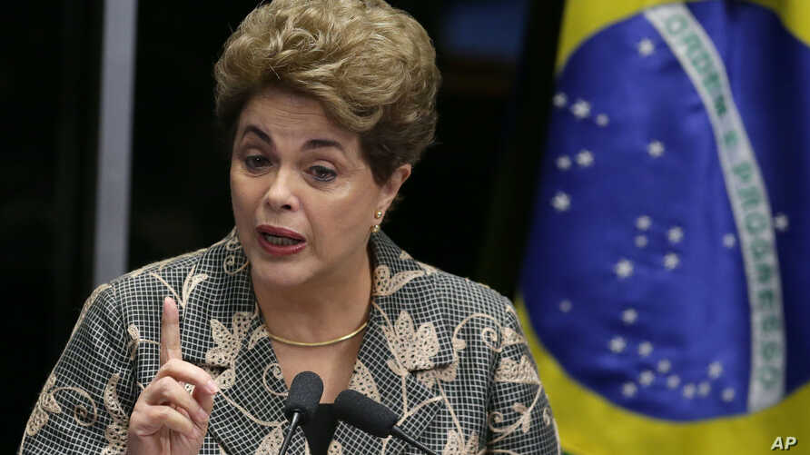 Brazil Political Crisis: Brazil's suspended President Dilma Rousseff speaks at her own impeachment trial, in Brasilia, Brazil, Monday, Aug. 29, 2016.