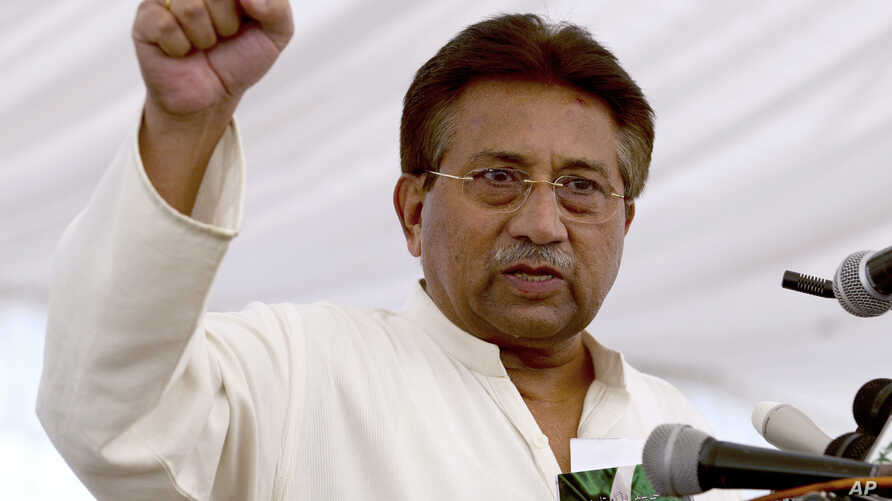 FILE - Pakistan's former President and military ruler Pervez Musharraf addresses his party supporters at his house in Islamabad, Pakistan, April 15, 2013.