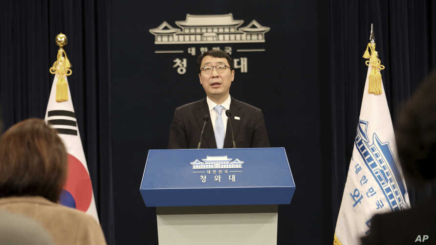 Yoon Young-chan, South Korean President Moon Jae-in's press secretary, speaks during a press briefing at the presidential Blue House in Seoul, March 4, 2018.