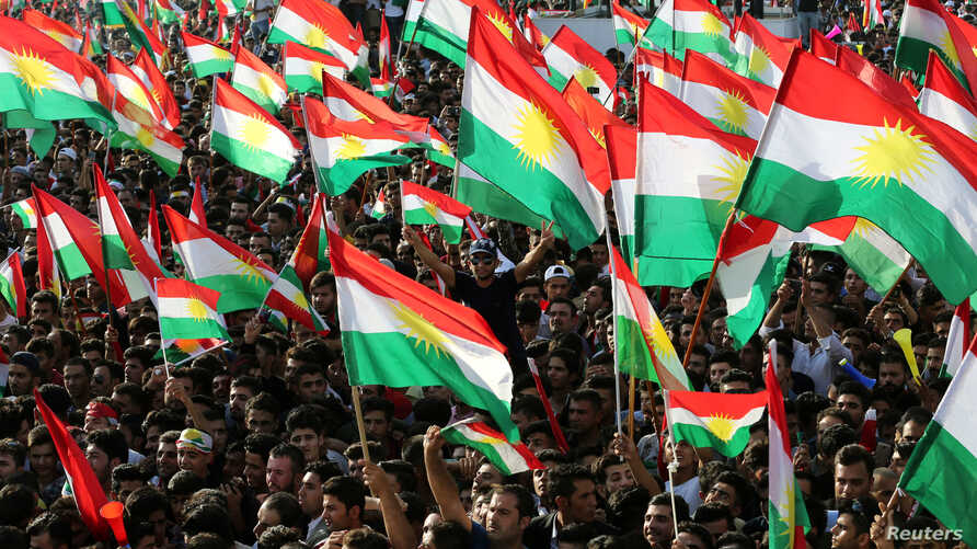 Kurds celebrate to show their support for the upcoming Sept. 25 independence referendum in Erbil, Iraq September 22, 2017.