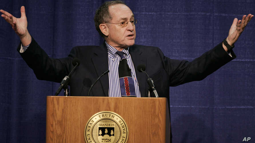 FILE -- In this Jan. 23, 2007 file photo, Harvard law professor Alan Dershowitz addresses an audience at Brandeis University, in Waltham, Mass. Dershowitz told Israel Army Radio on Thursday, March 30, 2017, that President Trump, in a conversation wit