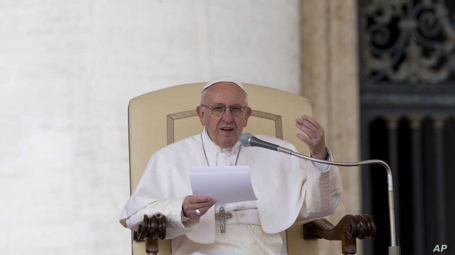 Pope Francis delivers his speech during the weekly general audience he held in St.Peter's Square, at the Vatican,  Wednesday, March 16, 2016.