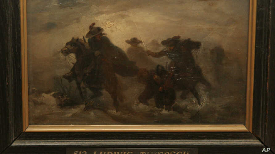 FILE - A painting by German Ludwig Thiersch, seen,  in the Art Museum in Simferopol, Ukraine, Nov. 13, 2008. Ukraine is unlikely to return dozens of paintings by Western European artists brought here from a German museum as trophies during World War