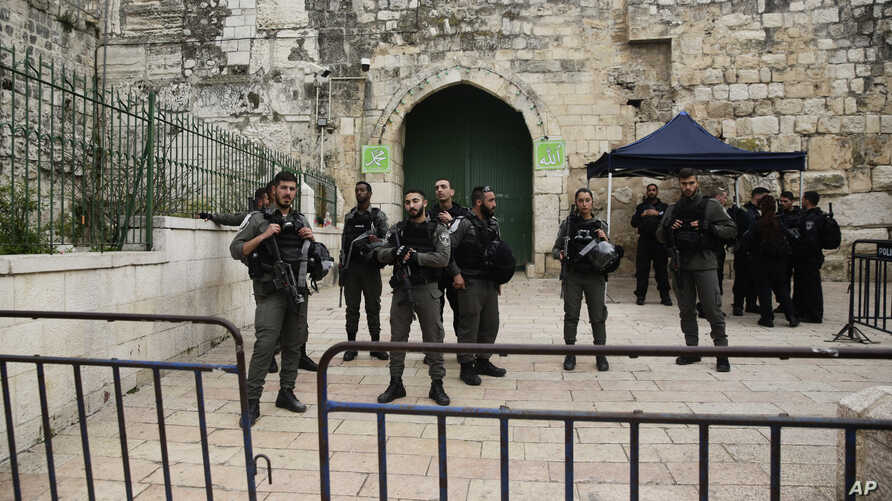 Israeli border police block the entrance to the Al-Aqsa compound in Jerusalem, March 12, 2019.