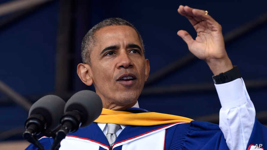 President Barack Obama gives his commencement address to the 2016 graduating class of Howard University in Washington, May 7, 2016.