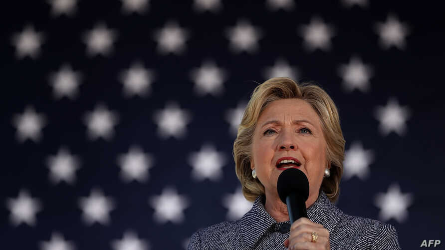 Democratic presidential nominee former Secretary of State Hillary Clinton speaks during a campaign rally, Sept. 29, 2016 in Des Moines, Iowa.