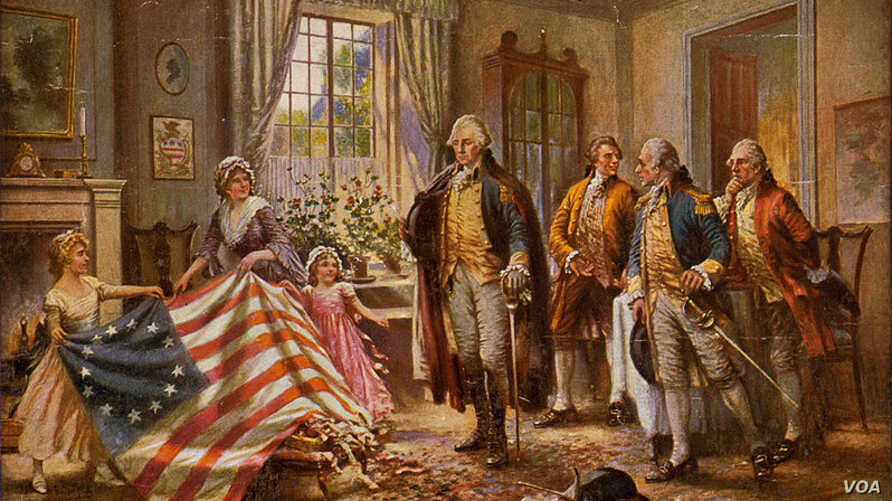 In this 1917 painting by Edward Percy, Betsy Ross presents the flag of the new U.S. nation to George Washington. (Library of Congress)