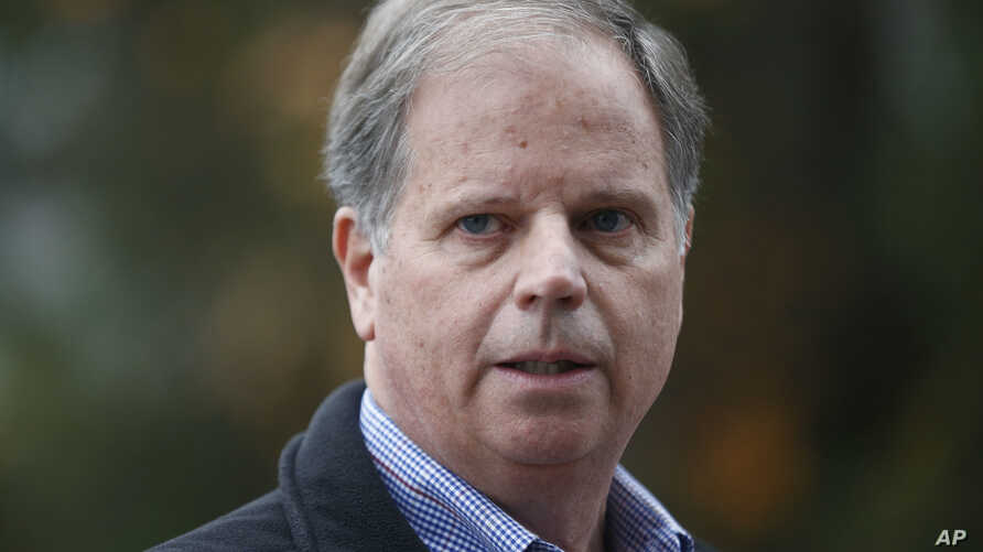 FILE - In this Dec. 4, 2017, file photo, then-Democratic senatorial candidate Doug Jones speaks at a news conference in Dolomite, Ala. Jones, the first Alabama Democrat elected to the Senate in a quarter century, is one of two new members who will ta