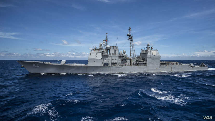 Guided-missile cruiser USS Antietam is seen on patrol in the U.S. 7th Fleet area of responsibility in support of stability and security in the Indo-Asia-Pacific region. (U.S. Navy photo by Mass Communication Specialists 3rd Class Bradley J. Gee/Relea