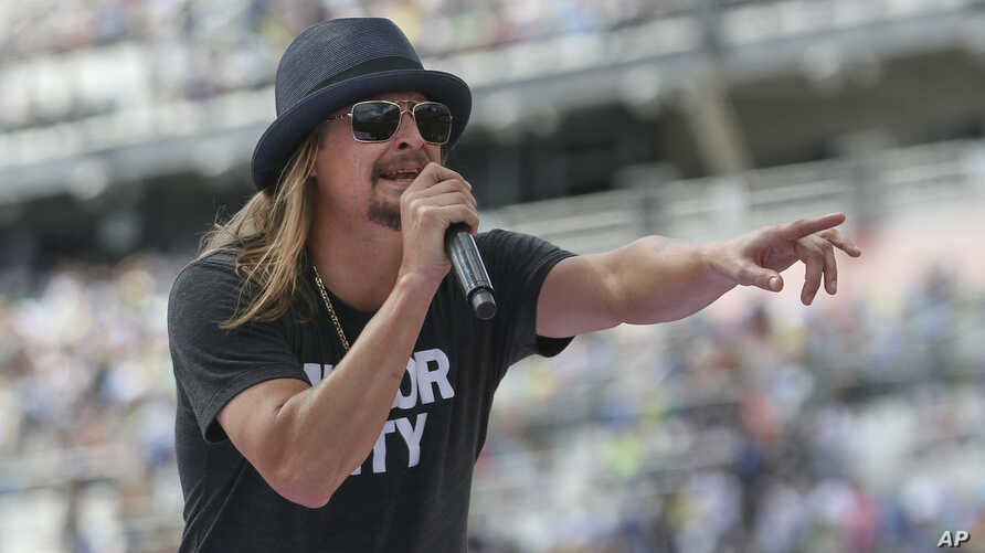 FILE - Singer Kid Rock performs a concert before the Daytona 500 auto race in Daytona Beach, Florida, Feb. 22, 2015. Rumors have been swirling about his political ambitions.