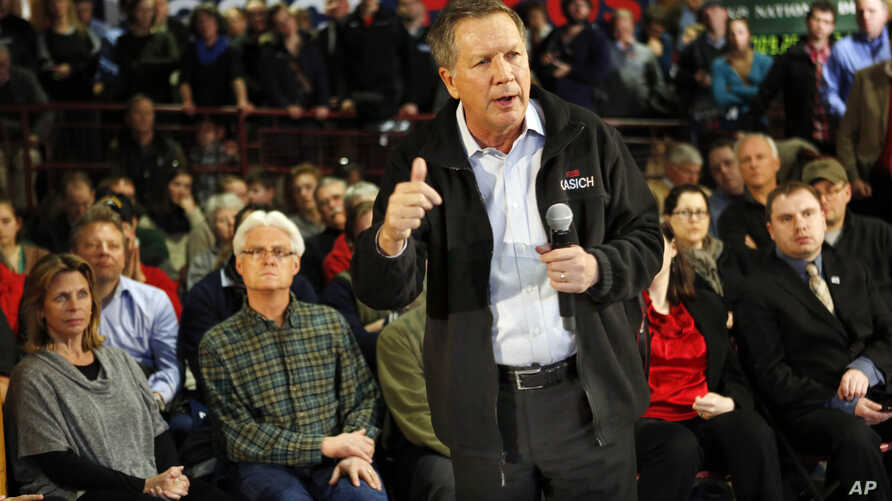Republican presidential candidate Gov. John Kasich, R-Ohio, speaks during a campaign stop at a high school before next Tuesday's first-in-the-nation presidential primary in Concord, New Hampshire, Feb. 7, 2016.