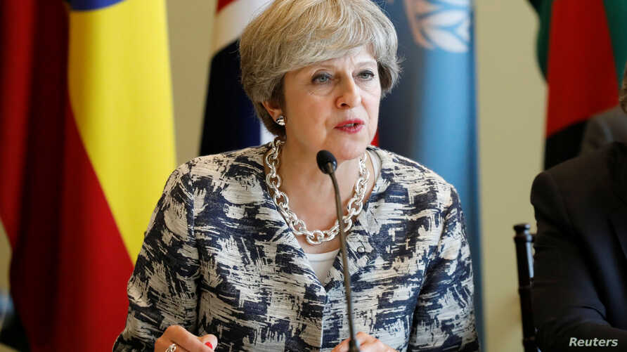 British Prime Minister Theresa May speaks during a meeting on the sidelines of the 72nd United Nations General Assembly at U.N. Headquarters in New York, Sept. 19, 2017.
