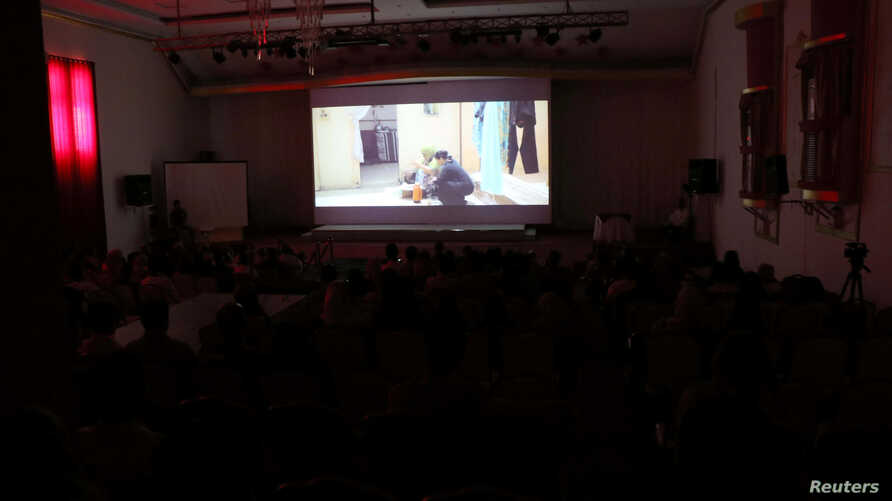 "A scene of the local movie ""10 Days Before the Wedding"" is being played in Aden, Yemen, Sept. 1, 2018."