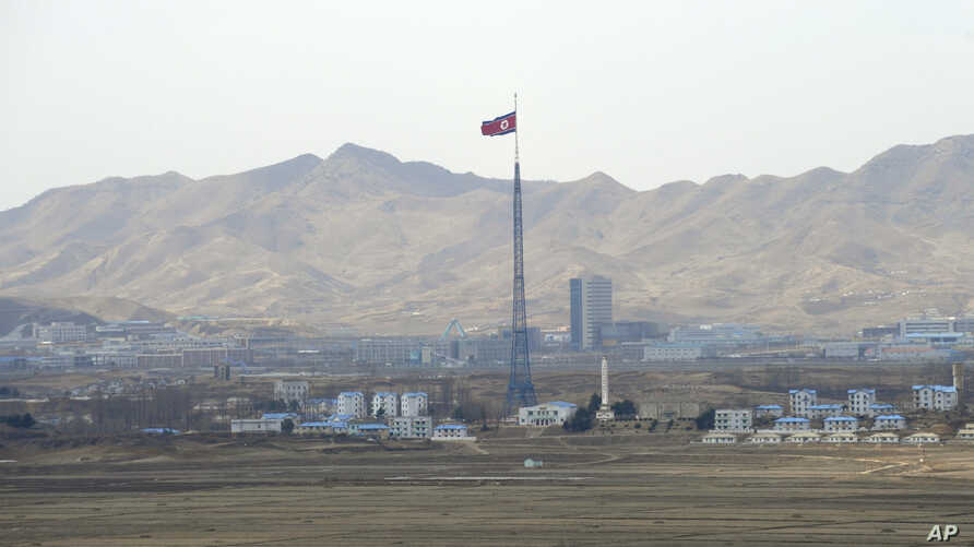 A view of Ki Jong Dong, North Korea, is seen from Observation Post Ouellette in the Demilitarized Zone, the tense military border between the two Koreas, in Panmunjom, South Korea, March 25, 2012.