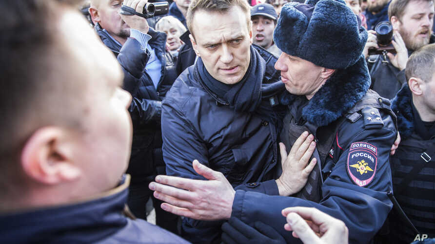 In this photo provided by Evgeny Feldman, Alexei Navalny is detained by police in downtown Moscow, Russia, March 26, 2017.