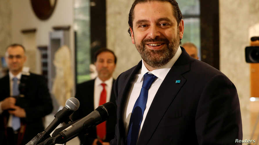 Lebanon's Prime minister-designate Saad al-Hariri reacts at the presidential palace in Baabda, Lebanon, May 24, 2018.