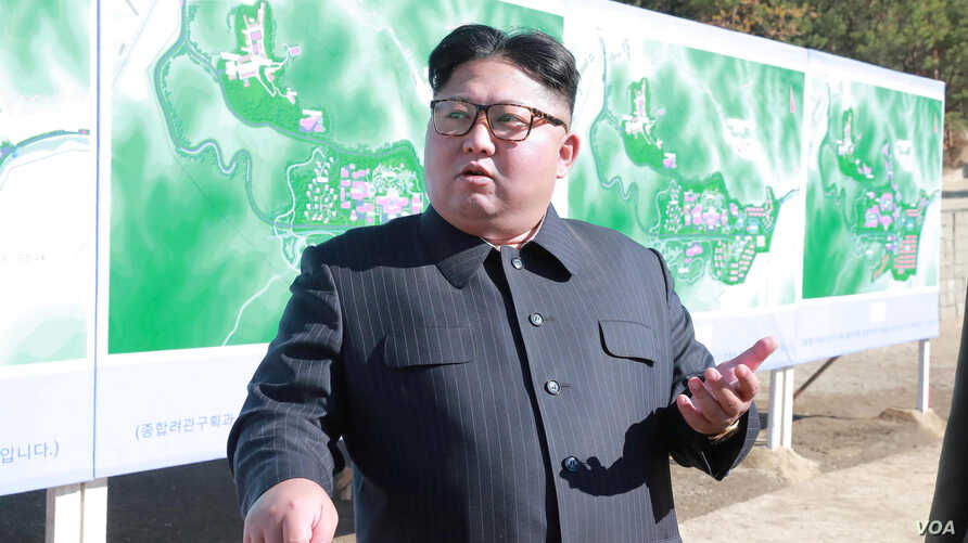 FILE PHOTO North Korean leader Kim Jong Un inspects a construction site in Yangdeok, in this undated photo released on October 31, 2018 by North Korea's Korean Central News Agency.