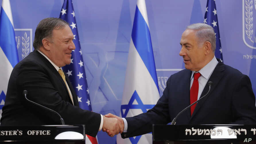 U.S. Secretary of State Mike Pompeo and Israeli Prime Minister Benjamin Netanyahu shake hands as they deliver joint statements during their meeting in Jerusalem, March 20, 2019.