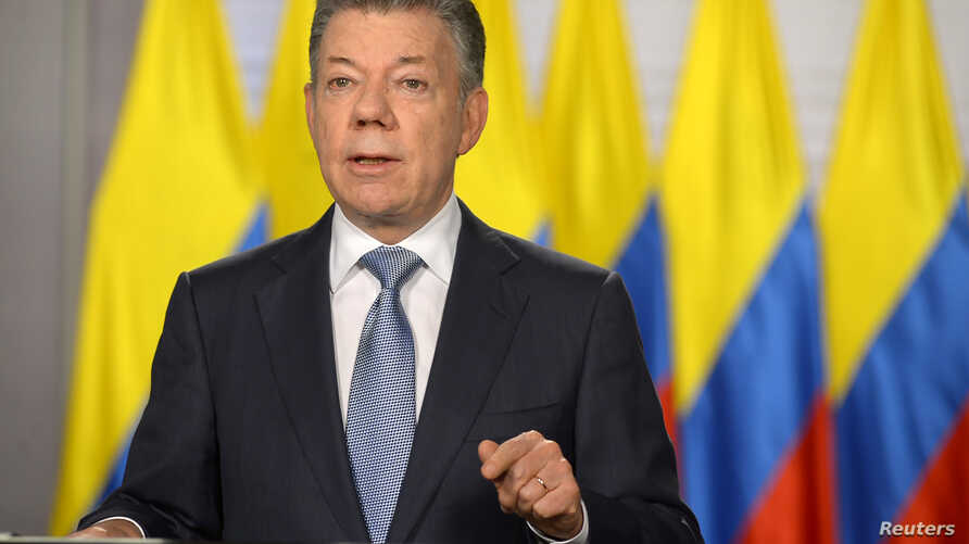 """Colombia's President Juan Manuel Santos gives a speech to the nation in Bogota, Colombia, May 25, 2018. Santos announced that his country will formally become NATO's first Latin American """"global partner."""""""