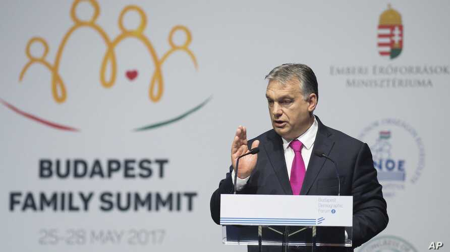 Hungarian Prime Minister Viktor Orban delivers a speech during the Demographic Forum of the Budapest Family Summit conference in Budapest, Hungary, May 25,  2017.