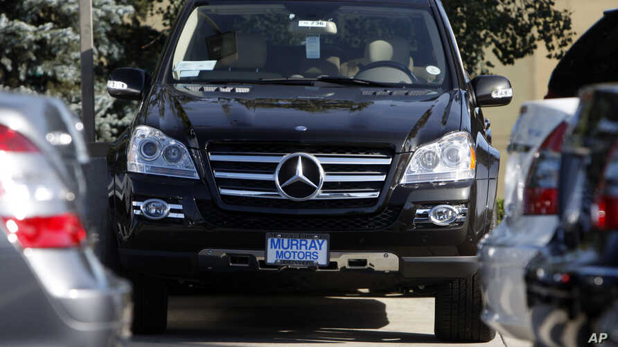 FILE - A pre-owned GL550 SUV sits at a Mercedes-Benz dealership in Denver, Colorado, Sept. 7, 2008. Due to an air bag sensor problem, some 48,000 Mercedes SUVs are being recalled in the U.S.