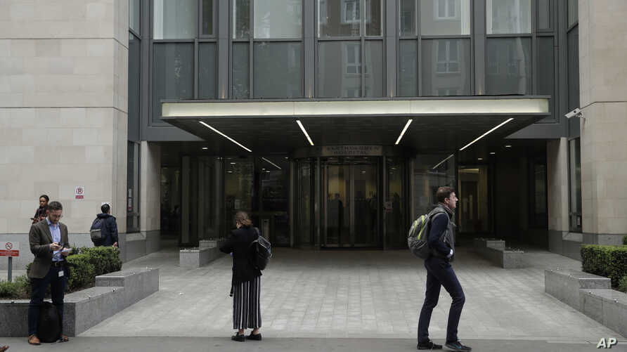 An exterior view shows the main entrance of St Bartholomew's Hospital, in London, one of the hospitals whose computer systems were affected by a cyberattack, May 12, 2017.