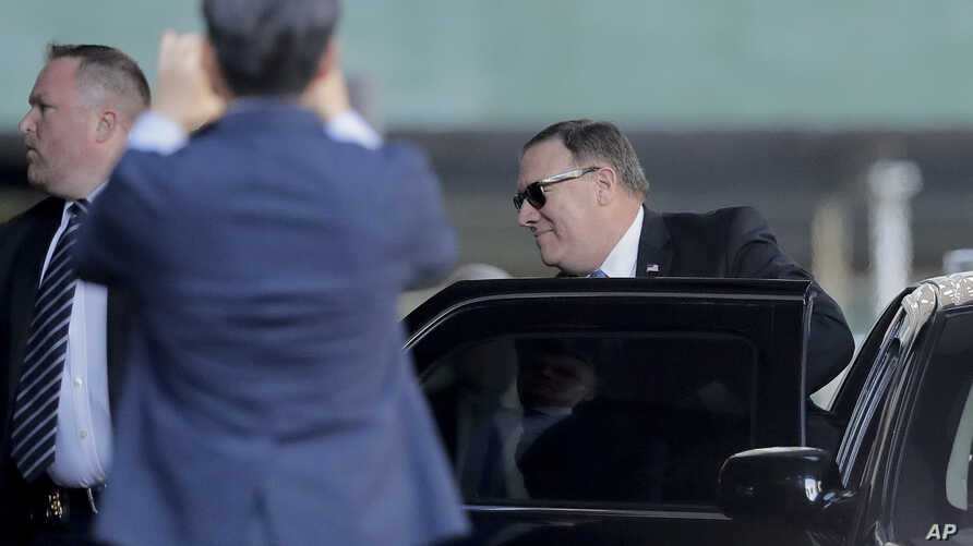 U.S. Secretary of State Mike Pompeo arrives to have dinner with North Korean official Kim Yong Chol, May 30, 2018, in New York.