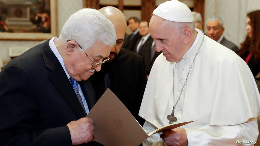 Palestinian President Mahmoud Abbas meets with Pope Francis at the Vatican, Dec. 3, 2018.