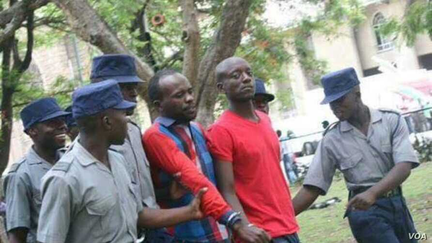 Occupy Africa Leaders Itai Dzamara (left) and Tichaona Danho (right) detained by police