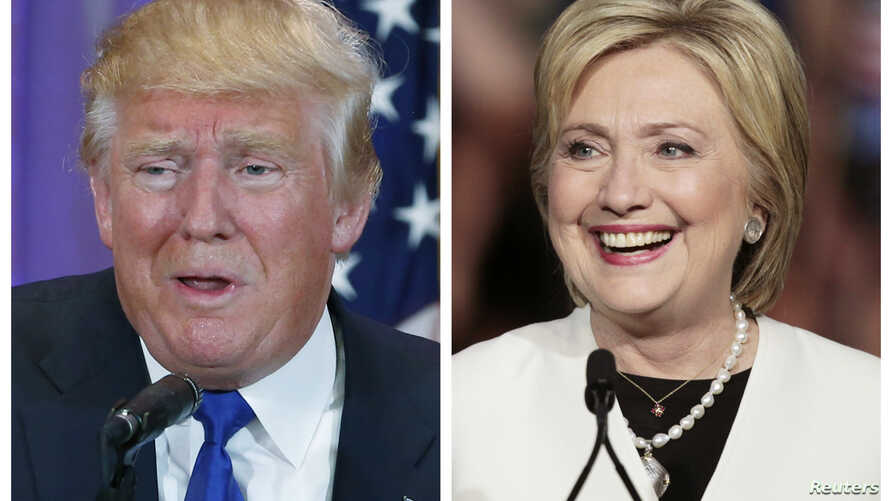 Republican U.S. presidential candidate Donald Trump, left, in Palm Beach, Fla., and Democratic presidential candidate Hillary Clinton in Miami, at their respective Super Tuesday campaign events, March 1, 2016.