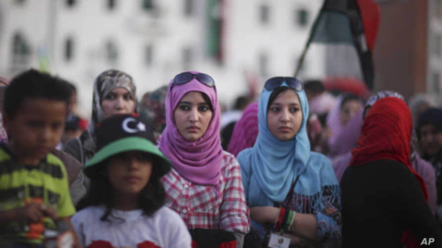 Women gather at Tripoli's main square during a protest against the presence of weapons in the city, Libya, (file photo).