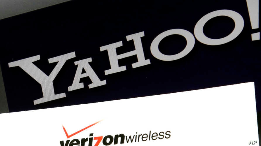 The Yahoo and Verizon logos on a laptop, in North Andover, Massachusetts, July 25, 2016.