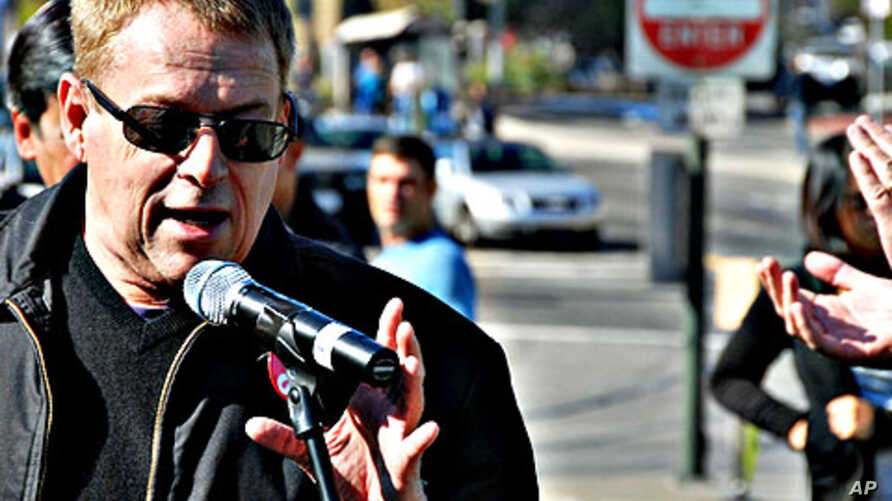 Cleve Jones joins to dedicate a San Francisco street car in the memory of his political mentor, Harvey Milk, California's first openly gay elected public official –  Milk was assassinated in 1978
