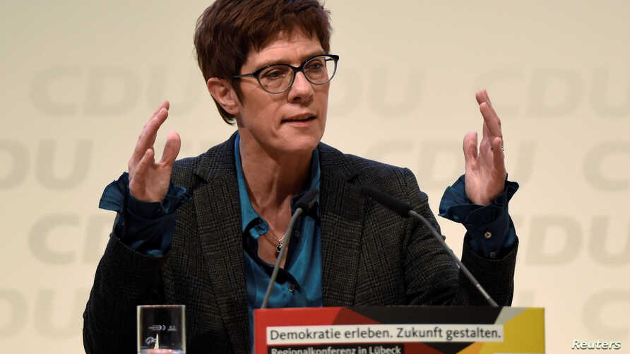 FILE - Christian Democratic Union candidate Annegret Kramp-Karrenbauer speaks at a regional conference in Luebeck, Germany, Nov. 15, 2018.