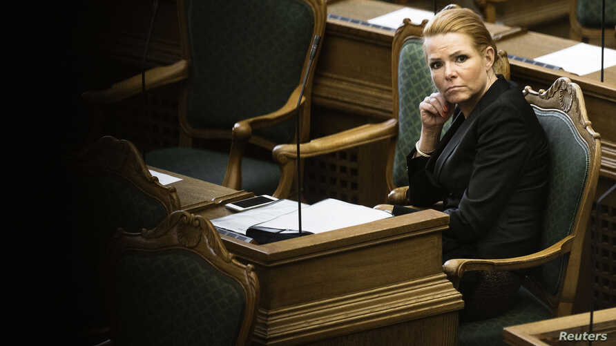 Denmark's Minister of Immigration and Integration Inger Stojberg listens to the debate in the Danish Parliament, Jan. 26, 2016.