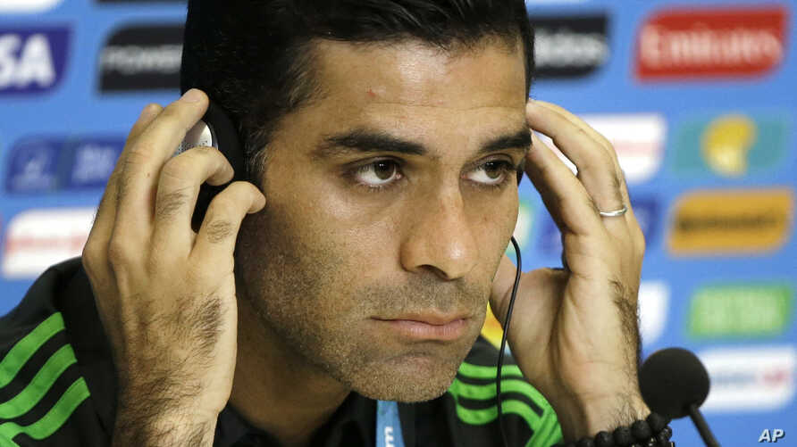 FILE - Mexico's soccer team captain Rafael Marquez Alvarez attends a news conference before training for the World Cup in the Arena das Dunas in Natal, Brazil, June 12, 2014.
