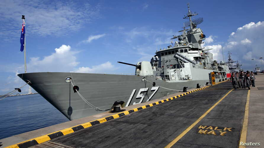 FILE - An Australian navy ship is seen at Changi Naval Base in Singapore, May 18, 2015.