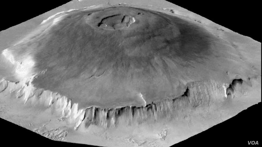 The massive Olypus Mons volcano on Mars is seen in this NASA photo.