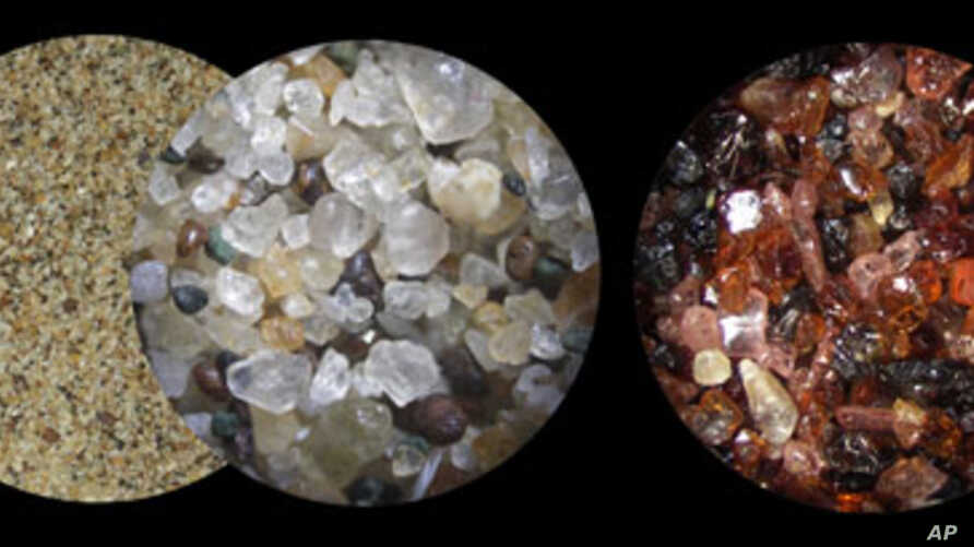 Close up, sand grain can appear jewel-like. Indeed, many gems, such as diamonds and sapphires, are made from ancient sands.