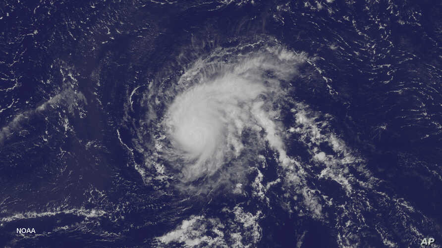 A satellite image taken at 1:45 p.m. EDT on Aug. 21, 2015, and released by the US National Oceanic and Atmospheric Administration, shows Hurricane Danny over the Atlantic Ocean.