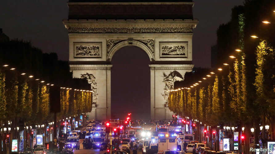 Police secure the Champs Elysees Avenue after one policeman was killed and another wounded in a shooting incident in Paris, April 20, 2017.