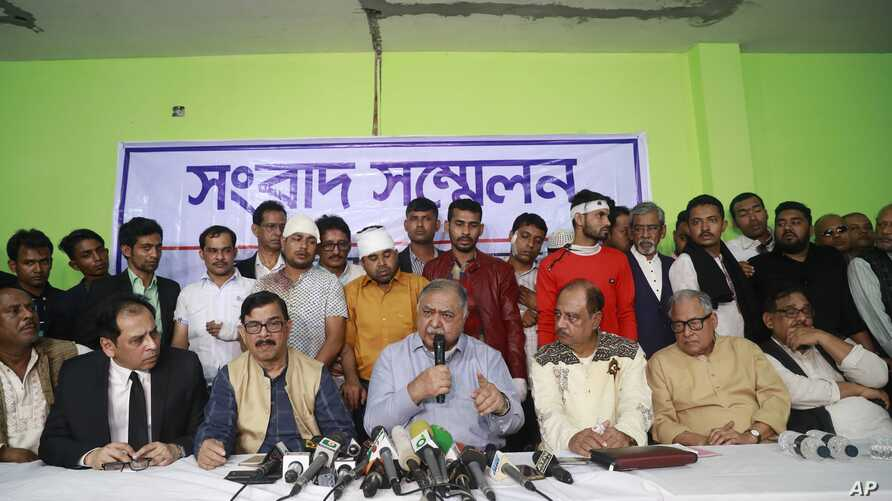 Bangladesh's opposition leader Kamal Hossain addresses a press conference after his motorcade was allegedly attacked in Dhaka, Bangladesh, Dec. 14, 2018.