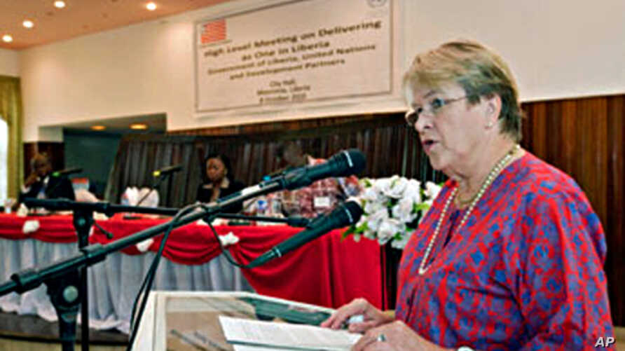 UN Special Representative Ellen Margarethe Loej speaks in a high level meeting of the Government of Liberia, Monrovia, 08 Oct. 2010