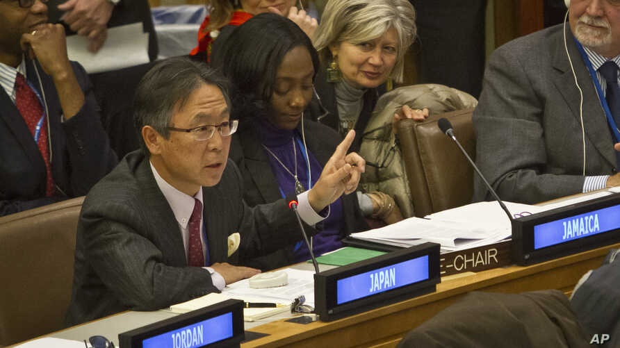 Motohide Yoshikawa, Japan's U.N. ambassador, speaks during a meeting of the U.N. General Assembly's human rights committee on a proposal to refer North Korea to the International Criminal Court for alleged crimes against humanity, Nov. 18, 2014.