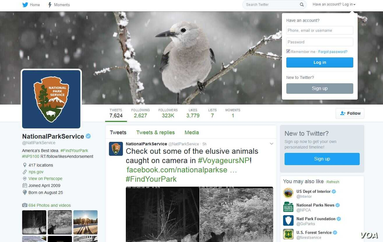 The National Park Service's Twitter page.